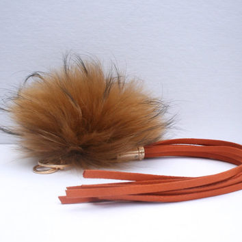 New bag tassel charm carmel Raccoon Fur Pom Pom bag pendant with dirty orange tassel