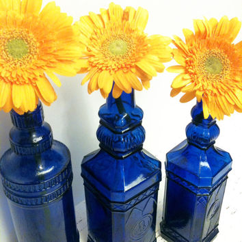 Cobalt Blue Glass,DIY Wedding,Statement Blue,Vase Lot,Beach Wedding,Wedding Vase,Beach Decor,Cobalt Glass,Garden Wedding, Flower Vase