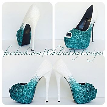 Teal Glitter Peep Toe Pumps, White Ombre Wedding Open Toe High Heels