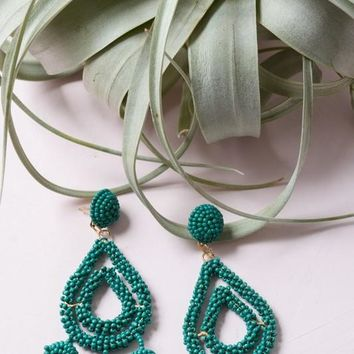 Camellia Teardrop Dangle Earrings - Jade