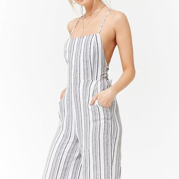 Striped Lace-Up Back Cami Jumpsuit