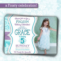 Frozen Birthday Party Invitation | Glitter Sparkle Girl Party Invite | Girl Winter Invitation for Birthday