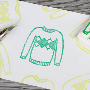 sweater stamp, knitted sweater rubber stamp, ugly sweater stamp, winter stamp, knitters stamp, christmas presents, holiday greetings
