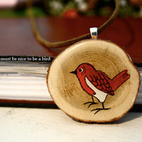 I am an Autumn Bird Hand Painted necklace by iamabird on Etsy