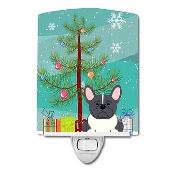 Merry Christmas Tree French Bulldog Black White Ceramic Night Light BB4137CNL