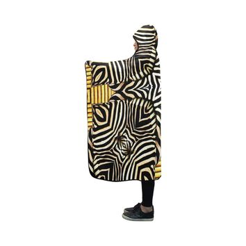 African Zebra Patterned Hooded Blanket