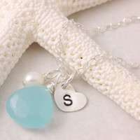Select Your Stone - birthstone necklace, personalized jewelry, initial necklace, gemstone necklace, bridesmaid, mother of the bride, N15-3