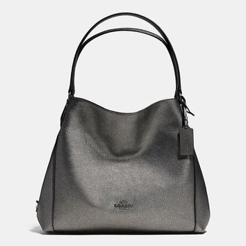 Edie Shoulder Bag 31 in Metallic Pebble Leather