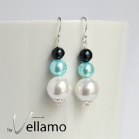 Earrings with Swarovski and freshwater pearls, black, turquoise and cream white mix pearls, sterling silver