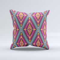 Pink & Teal Abstract Mirrored Design Ink-Fuzed Decorative Throw Pillow