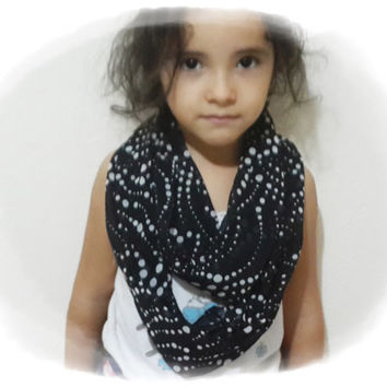 Black and White Polka Dots - Little Girl's Infinity Scarf - Kids Scarves Chiffon Infinity Loop Scarf for Toddlers Girls