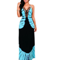 New summer sexy Women printing V neck hollow out long dress-0524