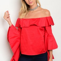 S8-6-1-TLT3544 RED OFF SHOULDER TOP 3-2-1
