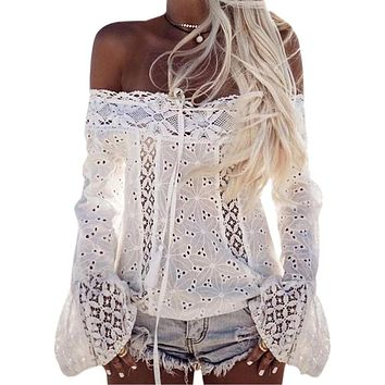 2017 Lace Blusas Women Long Flare Sleeve Slash Neck Shirts Summer Sexy Cut Out Blouse Casual Off Shoulder Tops White Blusa GV623