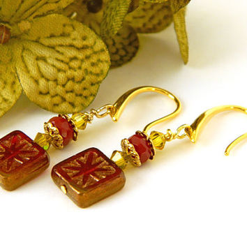 Unique Red Czech Glass Earrings Handcrafted Short Gold Crystal Dangle