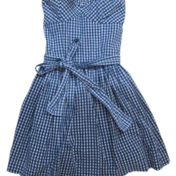 Abercrombie & Fitch Blue & White Blue White Checkered Strapless Dress