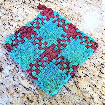 Loomed Cotton Trivet,  Woven Kitchen Coaster, Loomed Coaster, Gift for Chefs, Housewarming Gift, Kitchen Accessories, Easter Basket Filler