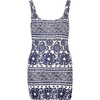 Navy tribal floral print scoop neck vest