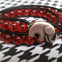 Red glass beaded leather double wrap bracelet with lucky elephant button