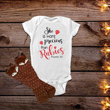She is More Precious than Rubies Onesuit®, Proverbs 3:15 Onesuit®, Christian Baby Clothes, Religious Baby Clothes, Bible Verse Onesuit®