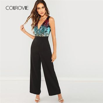 COLROVIE Black Bodice Color Block Wrap Elegant Sequin Jumpsuit Women 2018 Sleeveless Office Overalls Female Sexy Jumpsuits