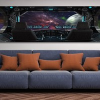 Space Travel Space Ship Window Canvas Wall Art