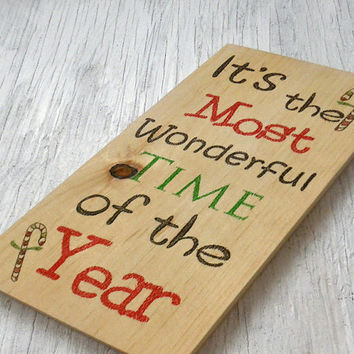 Holiday Christmas sign-Rustic Christmas sign-Rustic holiday sign-Rustic Christmas wall decor-Most wonderful time of year sign