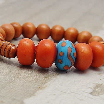 Women's Jewelry Beaded Stretch Bracelet Orange Bracelet Afrocentric Bracelet For Her African Gifts For Girlfriend  Thank You Gifts