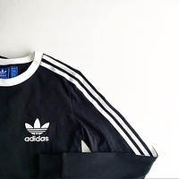 adidas Originals Black Three Stripe Long Sleeve Tee T-Shirt