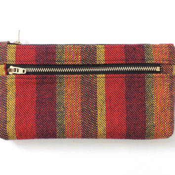 Stripe Clutch Purse Wallet Pencil Case Double Zipper Pouch Wool
