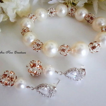 Swarovski Pearl Champagne Crystal Bracelet Earrings Set Champagne Bridal Wedding Bridesmaid Jewelry Mother of Bride Groom Gift Formal Set