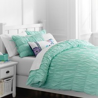 Ruched Duvet Cover + Sham, Light Pool