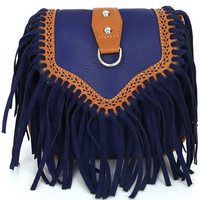 Dark Blue Leather Tassels Bag