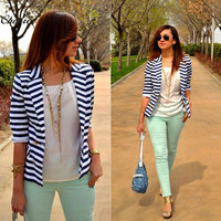 Fashion Striped Slim Casual Business Blazer Suit Jacket Coat Outwear
