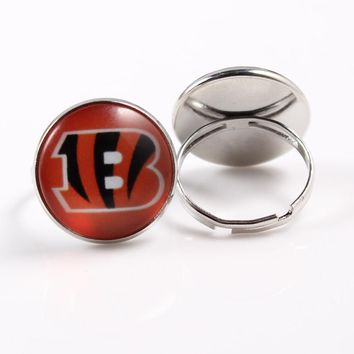 2018 American Football Team Cincinnati Bengals Fans Jewelry 18mm Glass Charm Ring for Men Women 10pcs/lot