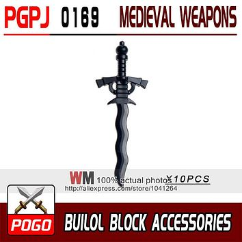 10pcs/lot Latest Rome Knight Weapon Sword Accessories Building Blocks Bricks Medieval Knight Weapons
