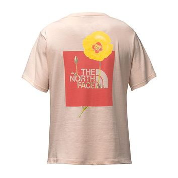 Women's Short Sleeve Bottle Source Red Box Tee in Evening Sand Pink by The North Face