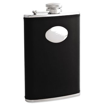 Black Leather Stainless Steel Flask with Funnel - Engravable Gift Item