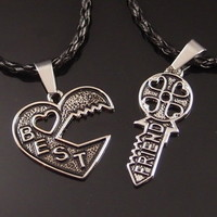 "Friendship Best Friend Heart Key Jigsaw Pewter Pendant w/ 20"" Necklaces SP#239"