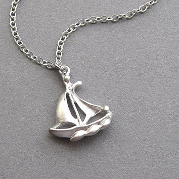 Sailboat necklace, silver, yacht boat ship schooner, nautical beach resort jewelry