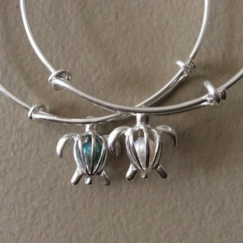 Silver Turtle with Caged Freshwater Pearl on a Silver Adjustable Bangle Charm Bracelet Fertility Expandable Trendy Meaningful Inspirational Stacking