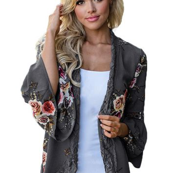 Chicloth Gray Bell Sleeve Floral Kimono with Lace Detail