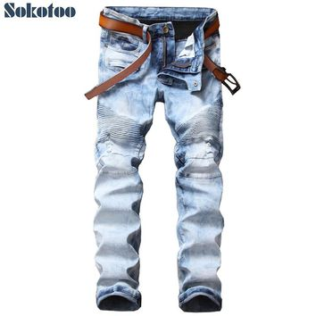 Sokotoo Men's light blue snow washed biker jeans for motorcycle Casual slim straight ripped denim pants