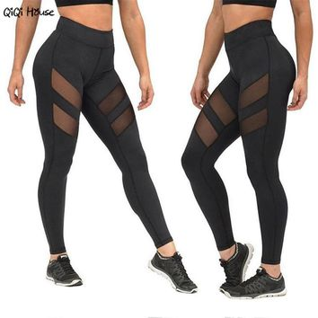 Sexy Leggings Women Patchwork Mesh Black Sweatpants Summer Autumn Fitness Leggings Workout Clothes Spodnie Dresowe Damskie#A131
