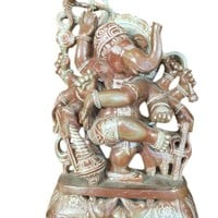 Indian Hand Carved Ganesh Sculpture Stone Statue Yoga Art Home Decor 8 Inch