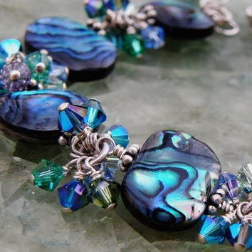 Abalone Bracelet, Swarovski Crystals, Sterling Silver, Teal, Blue Green Shell, Beach Wedding, Unique Handmade Jewelry, Exotic Christmas Gift