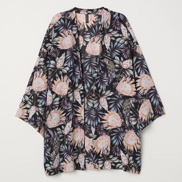 Short kimono - Black/Botanical - Ladies | H&M GB