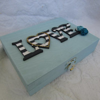 Black White Teal Wedding Ring BOx with wood LOVE his hers Divided ring Pillow