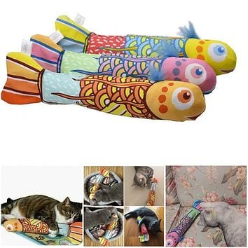 Funny Cartoon Fish Shape Fancy Catnip Pillow Interactive Play Toy for Pet Cat