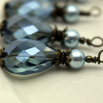 Montana Blue Faceted Flat Teardrop Crystal Pendant Bead Dangle Charm Drop Set